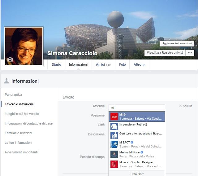 Esempio pagina Facebook aziendale inserita nel profilo personale