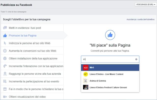 Promuovi la tua pagina - Pubblicità su Facebook